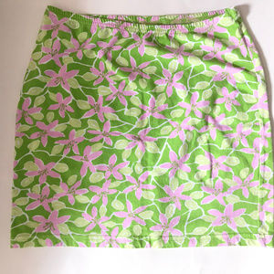 Lilly Pulitzer Pink Green Cotton Knit Floral Skirt
